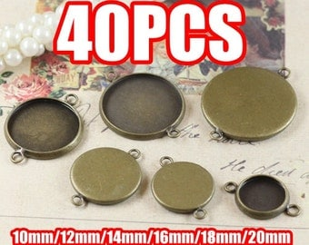 40 Brass Antique Bronzed Round Bezel Setting Cabochon Mounting W/ 2 rings, 10mm/ 12mm/ 14mm/ 16mm/ 18mm/ 20mm as your choice- Z5755a