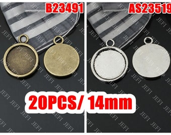 20 Pendant trays- 14mm Round Bezel Cup Cabochon Mounting Wholesale, Antique Bronze/ Antique Silver as your choice