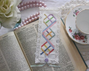Victorian Lace Spiral Cross Stitch Book Mark-Free Shipping
