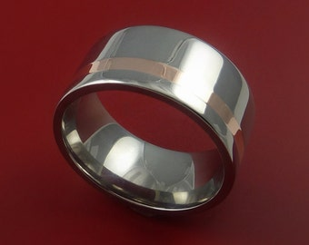 Rose Gold and Titanium Ring Wide Band Any Finish and Sizing from 3-22
