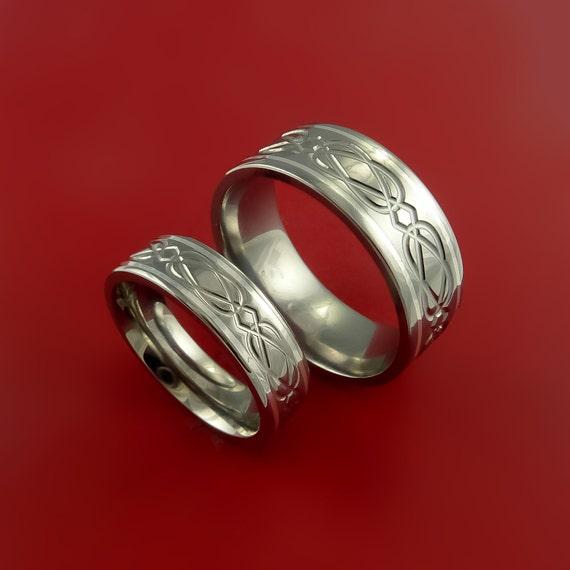 celtic titanium silver inlay ring set wedding by