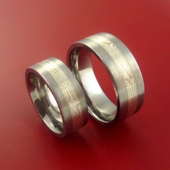 and Her Matching Mokume and Palladium in Titanium Rings Wedding Band ...