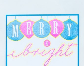 Holiday Faves Collection - Merry & Bright - Letterpress Holiday Card