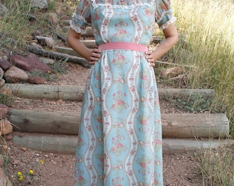 Vintage Victorian Style Dress 70s Floral Print Prairie Maxi THE CASSANDRA