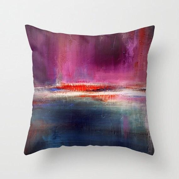 Modern Print Pillows : Purple pillow Urban art print Modern throw pillow by LizMosLoft