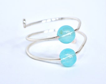 Wire Ring Translucent Blue Beads Non Tarnish Silver Plated Wire