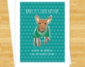 Dog Christmas Cards - Red Miniature Pinscher Says Baby Its Cold Outside - Funny Holiday Cards Red Min Pin