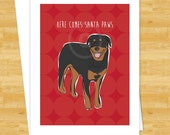 Dog Christmas Cards - Rottweiler Here Comes Santa Paws - Funny Holiday Cards Santa Claus
