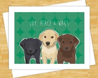 Dog Christmas Cards - Joy Peace and Wags with Labrador Retrievers - Holiday Funny Christmas Cards