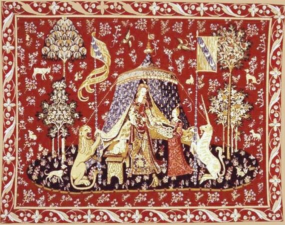 Dolls house tapestry printed canvas picture hanging miniature - La tapisserie de la dame a la licorne ...