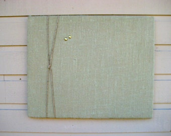 Burlap Pin Board, Sage Green Photo Memory Board to display photo's or cards, great for wedding placecards, customizable colors
