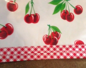 Cherries on White with Red Gingham Oilcloth tablecloth