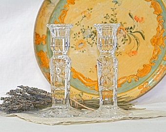 Hand Cut Crystal Candle Sticks Vintage from Poland