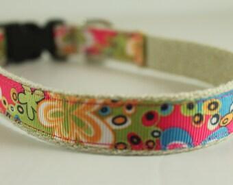 Hemp Dog Collar - Hippy Flowers - 3/4in