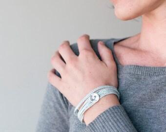 Women's Wrap Bracelet, Crochet Bracelet, knitted Jewelry, Blue cloud, Friendship bracelet, Mothers Day, landyard, knit bracelet,gift for her