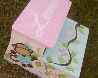 Monkeys, Kids and baby, Nursery Decor, Step stool benches, CUSTOM Girls  Pink Childs Step Stool, Bench Kids Furniture and Decor