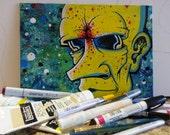 Mellow Yellow Man original mixed media painting