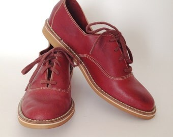 Vintage 1970s Leather oxfords | Size 6 | Crawdads | Deadstock