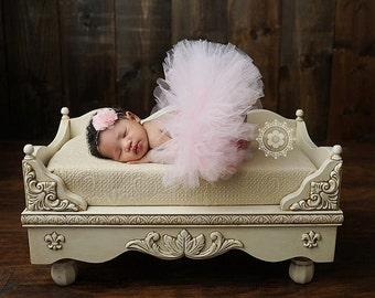 Pink tutu with chiffon headband, newborn tutu, baby tutu, tutu and headband, newborn photography prop