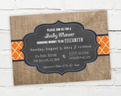 Printable Digital File - Burlap Quatrefoil Chalkboard Invitation - Customizable - Baby Shower, Birthday Party, Engagement, Wedding, Bridal
