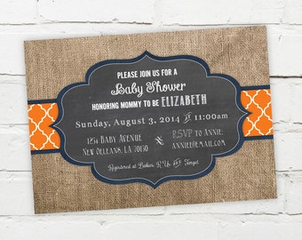 Printable Digital File - Burlap Quatrefoil Chalkboard Invitation - Customizable - Baby Shower, Birthday Party, Engagement, Wedding, Bridal