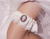 Wedding Garter SET/ Cameo Brooch Garter on Layered Ivory Lace SET