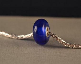 Silver cored-Blue Lampwork Glass Bead for European Charm Bracelet-BHB-OOAK-Handmade-SRA