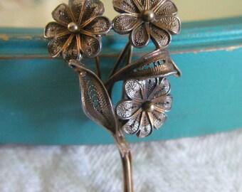SALE...Antique Filigree Flower Brooch