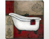 Red Bath Bathtub Painting or Sink Painting or Red Bath Art Set  Textured Background Bathroom Art 18x18 by Britt Hallowell