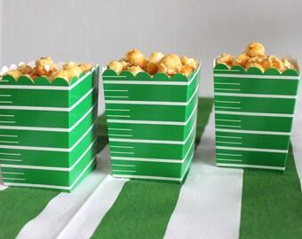 Football favor box, football popcorn box (24), green favor box, party favor, candy box, favor box, treat box, snack box, party supplies