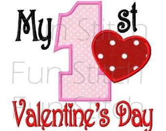 My 1st Valentine's day applique machine embroidery design