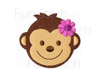 mini girl monkey machine embroidery design