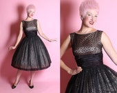 FABULOUS 1950's New Look Inky Black Sheer Chiffon Over Nude Satin Party Dress w/ Multicolored Glitter Flocked Black Velvet Diamonds - Size M