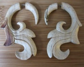 FAUX GUAGED Earrings! VEGAN soma wood, Hand carved, stylish, for regular piercings!