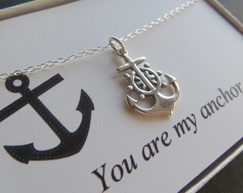 Anchor necklace with message card, you are my anchor necklace, nautical charm, sterling silver, nymetals