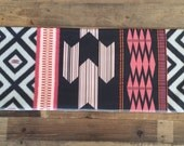 Organic jersey lightweight baby blanket in tribal ikat print