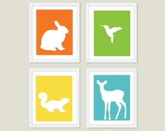 Forest Animals Nursery Art Prints - Rabbit Hummingbird Squirrel Fawn Deer - Orange Green Yellow Blue - Choose Your Colors