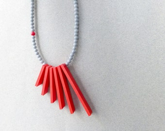 red grey necklace , geometric tribal minimalist contemporary jewelry