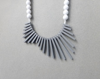 tribal geometric necklace , grey sticks and white beads , contemporary jewelry
