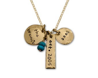 Hand Stamped Gold Hammered Mother Family Necklace