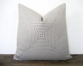Pillow Cover Mitered Charcoal Grey Ticking Stripes Urban Chic