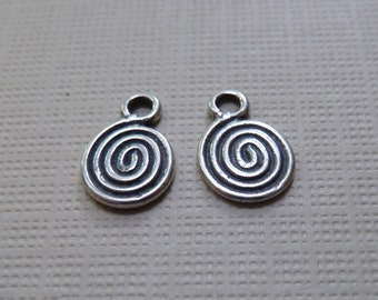 Sterling Silver Spiral Charms, Drops, Dangles - 10x7mm -  2-sided (same design both sides) - Qty 2 pcs (one pair)