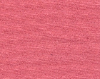 Solid Salmon Pink 4 Way Stretch 9oz Cotton Lycra Jersey Knit Fabric, 1 Yard