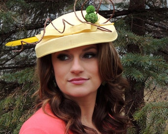 Redesigned Yellow Lottie Feather Vintage Hat