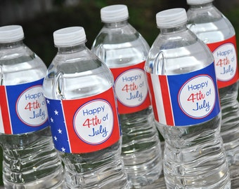 4th of July Water Bottle Labels - Fourth of July Party Decorations - Red, White and Blue - Set of 10 Personalized Labels