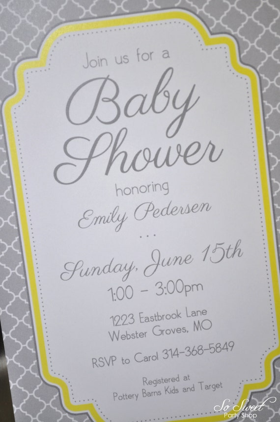 baby shower invitations gray and yellow boy or girl baby shower