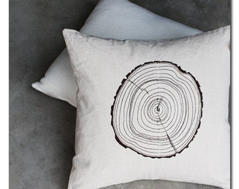 Tree Ring Woodgrain Faux Bois Pillow Cover