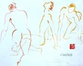 Original Sumi Painting, Three Guys, sumi line art, 3 poses, men, males, nudes, wall art, home decor, yellow, orange, brush & watercolor, 2d
