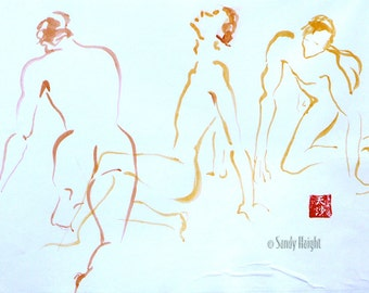 Original Sumi Painting, Three Guys, sumi line art, 3 poses, men, males, nudes, wall art, home decor, yellow, orange, brush & watercolor, 2d