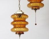 vintage mid century modern hanging swag lights, retro lamps, glass globes with chain
